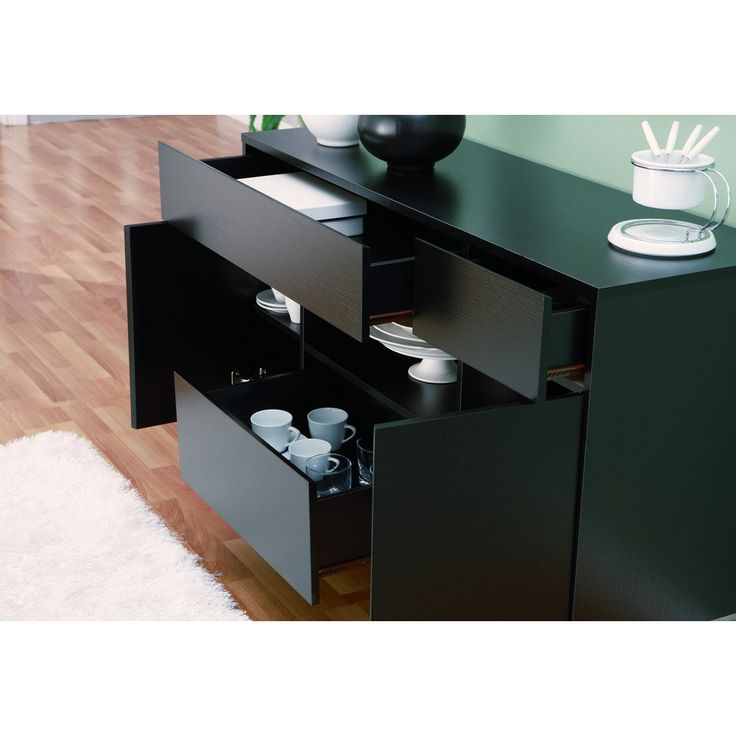 291/-  Furniture of America Miura Modern Multi-storage Black Buffet Table | Overstock™ Shopping - Big Discounts on Furniture of America Buffets