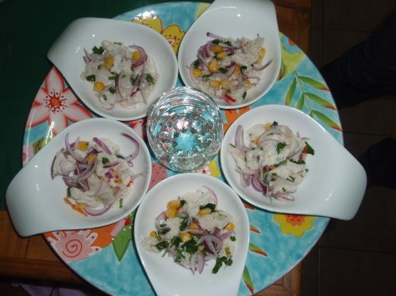 The best and easiest Ceviche recipe Ive ever tasted (and Ive tried them all over South America). Its quick, easy and disappears quickly. The habanero peppers make it spicy without giving it the distinctive flavor of jalapenos and its great without hot peppers too. You can adjust any of the seasonings to suit your taste. I am not a cilantro fan, but this is the only recipe in which I will tolerate cilantro.