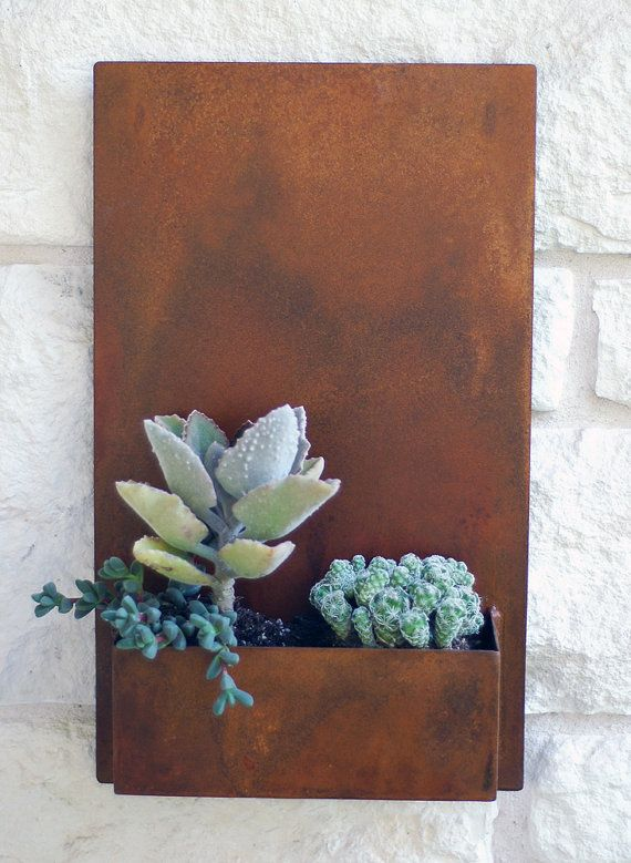 12 x 20 Modern Metal Succulent Wall Planter by UrbanMettle