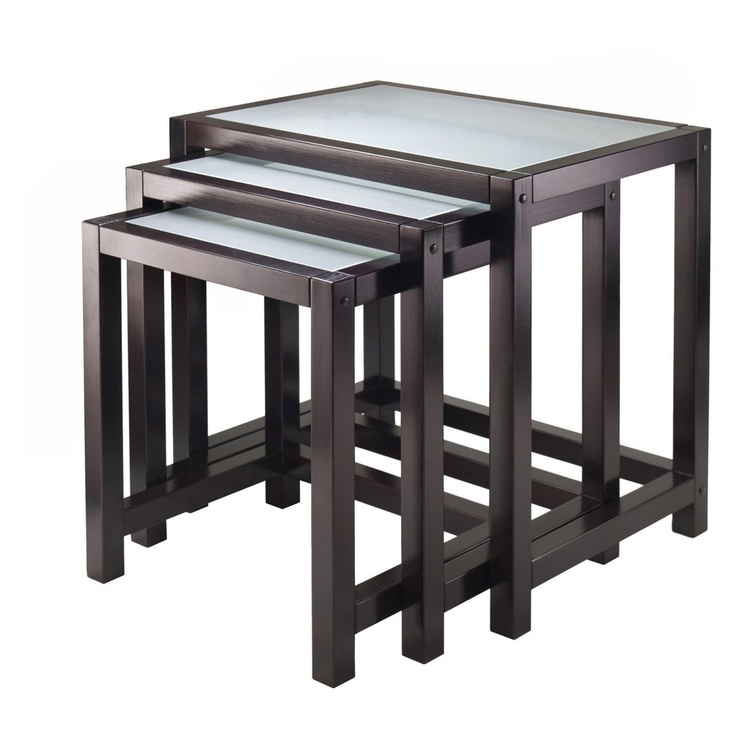 Winsome Trading 92333 Copenhagen Nesting Table Set With Glass Top