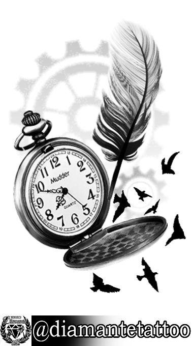 Reloj con pluma y pájaros. Diseño para tatuaje realista en blanco y negro.