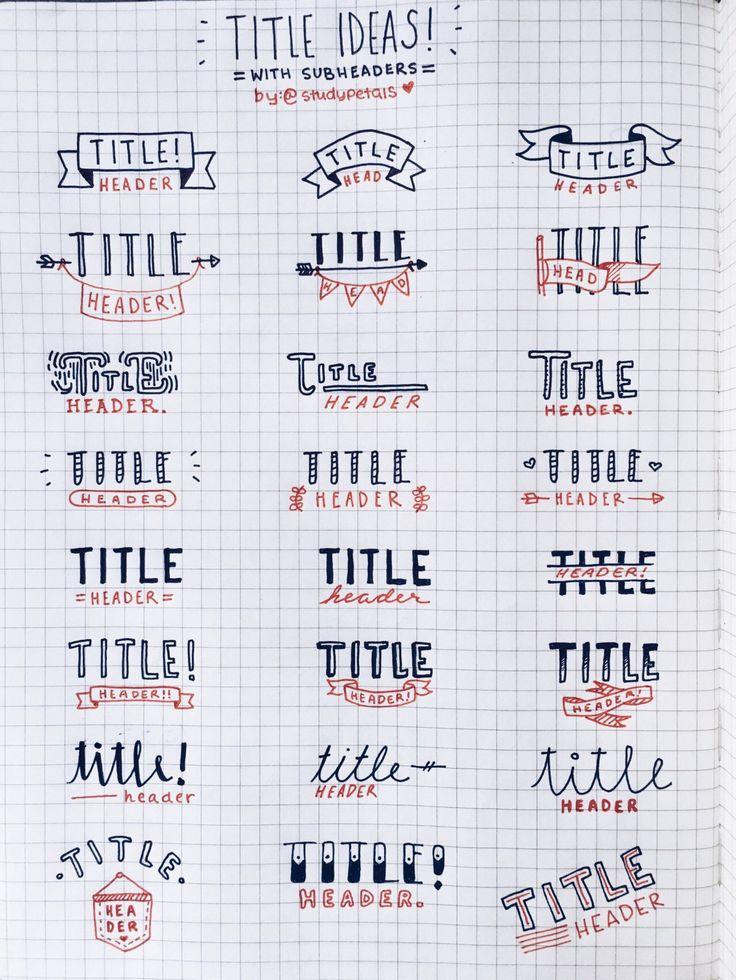 Bullet journal titles