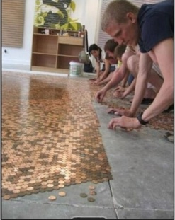 coins as a tile for the floor, or maybe a mat idea? might be cool for a bathroom?