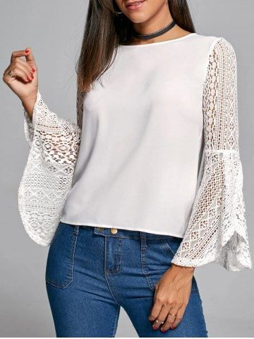 5c746c59125 Shop for White L Flare Sleeve Lace Trim Blouse online at  15.07 and  discover fashion at RoseGal.com Mobile