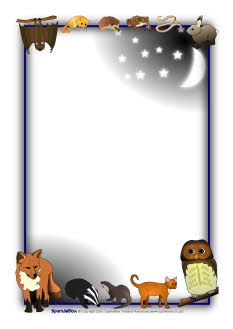 Nocturnal animal A4 page borders (SB2337) - SparkleBox