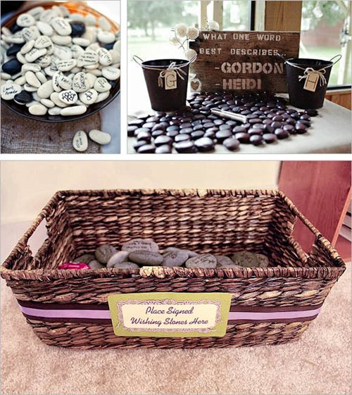 Have guests sign these Wedding Stones and display them in our home after ;)