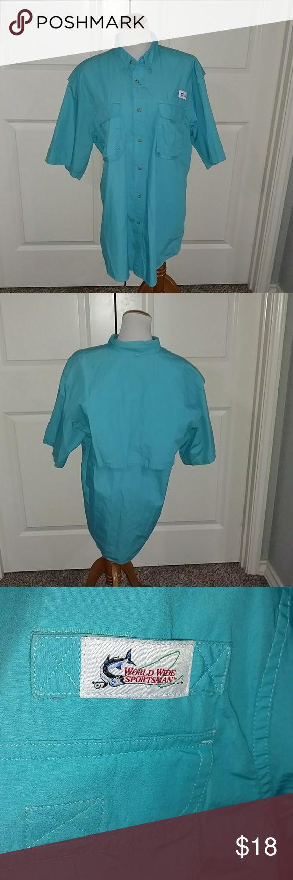 World Wide Sportsman Turquoise Shirt World Wide Sportsman turquoise button down shirt. In excellent condition. Size Large. World Wide Sportsman Shirts Casual Button Down Shirts