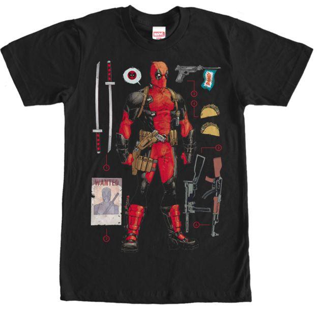 Deadpool Weapons Mens T-Shirt