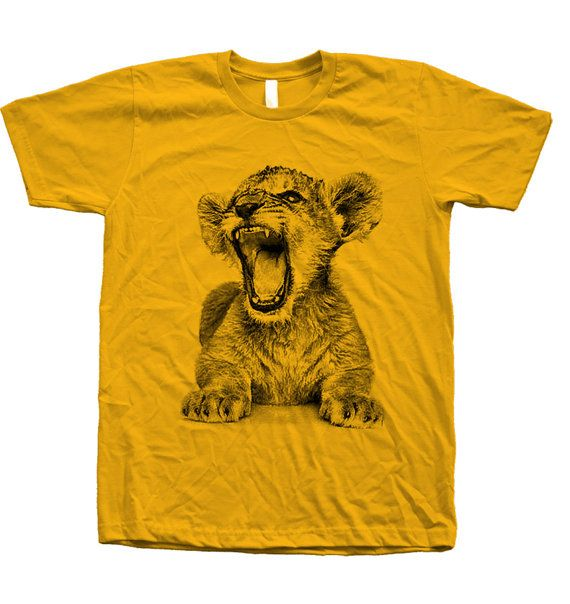 Mens Unisex Lion Cub Screen Print Tshirt on by Couthclothing, $18.00
