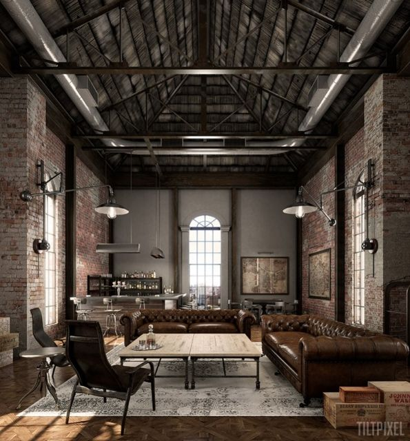 Industrial chic style living room with leather sofas, industrial lighting and open-work ceiling design :: tiltpixel
