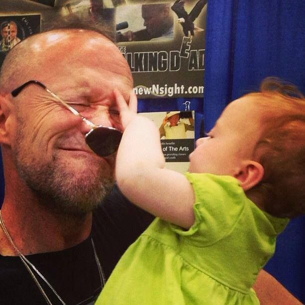 Michael Rooker with a tiny fan. How cute!!!