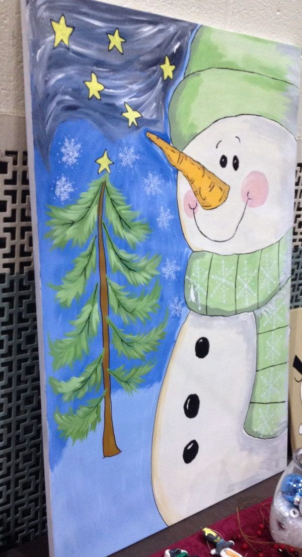 Cute Snowman Canvas Painting More