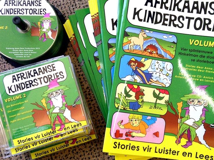 Die Afrikaanse Kinderstories reeks bestaan uit 12 A4 boeke met luister-CDs by, sodat jong kinders kan saamlees en luister na bekende, en splinternuwe, stories in Afrikaans! www.AnnaEmm.co.za