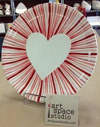 Nice pottery ceramic plate painting idea for Valentines or Mother's Day.