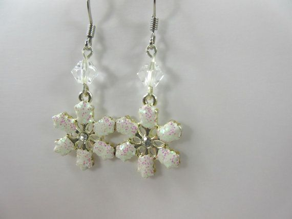 Snowflake Earrings with sparkly pink and green by GlowingDawn