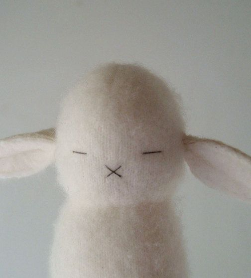 A Cashmere Cream Peeper Bunny by Makeitawesome on Etsy