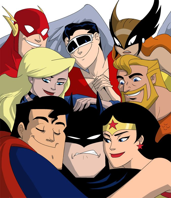 Super Friends: The Flash, Plastic Man, Hawkgirl, Black Canary, Aquaman, Superman, Batman,  Wonder Woman. The look on Superman and Batmans faces puts this over the top.