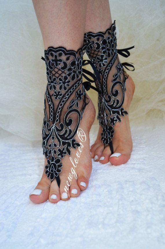 Crochet Tan Barefoot Sandals, french lace, Nude shoes, Foot jewelry,Wedding, Victorian Lace, Sexy, Yoga, Anklet , Belly Dance on Etsy, $25.00