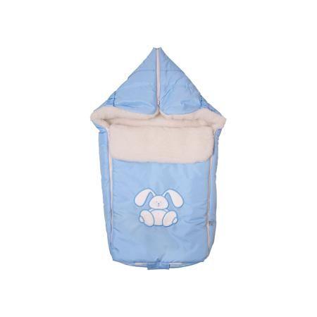 """Сонный гномик Конверт меховой Зайчик, Сонный гномик, голубой  — 1790р.  Меховой конверт """"Зайчик"""" - красивый и практичный вариант для холодной погоды. Верх из специальной синтетической ткани Dewspa, защищает малыша от дождя и ветра. Подкладка представляет собой счёс из натуральной овечьей шерсти на синтетическом основании, поэтому, конверт очень легкий и теплый. Теплосберегающая мембрана Shelter, дополнительный клапан для защиты от ветра и удобная конструкция на двух застежках-молниях…"""