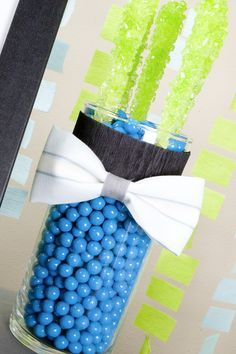 Bow Tie Party Centerpieces - created with rock candy and sixlets. Yummy! #Babyshowercenterpieces #Babyshowercandycenterpieces