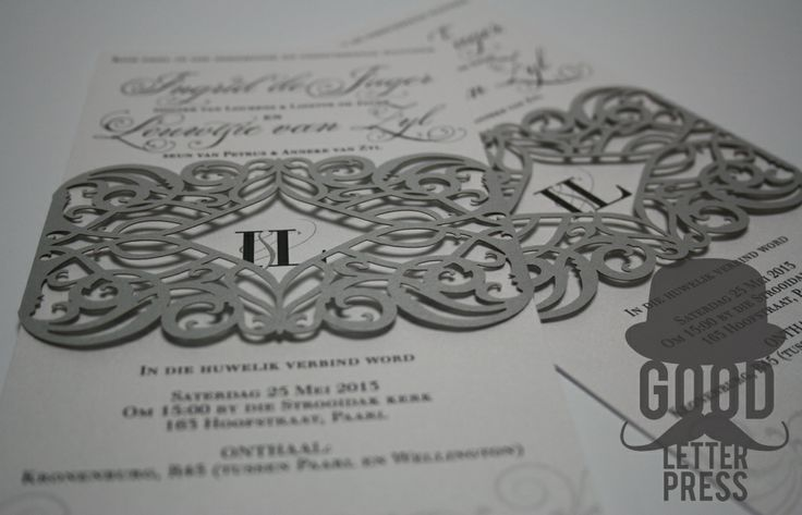 Wedding invitation with laser cut belly band