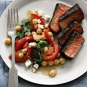 Steak with Chickpeas, Tomatoes, and Feta | MyRecipes.com - made this tonight. So delicious! And so simple! From Real Simple