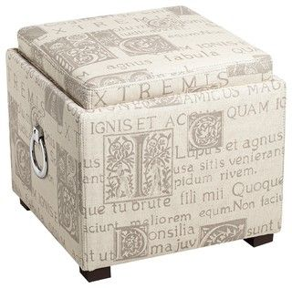 Traditional French Script Fabric Upholstered Storage Ottoman - traditional - ottomans and cubes - by Lamps Plus