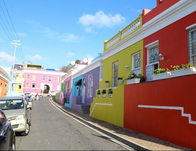 The colored houses in Capetown.