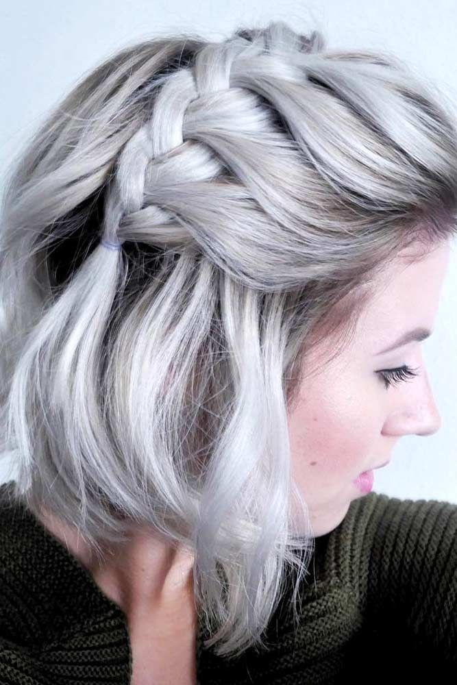 53 Awesome Trendsetting Short Hairstyles for 2018 To Make You Stand Out From The Crowd ❤ Half-Up with French Braided Bang ❤ #shorthair #shorthairstyles #braids See more: http://lovehairstyles.com/short-hairstyles-for-women/