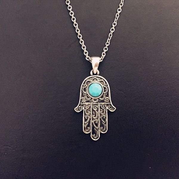 Vintage Silver Turquoise Hamsa Hand Fatima Palm Necklace