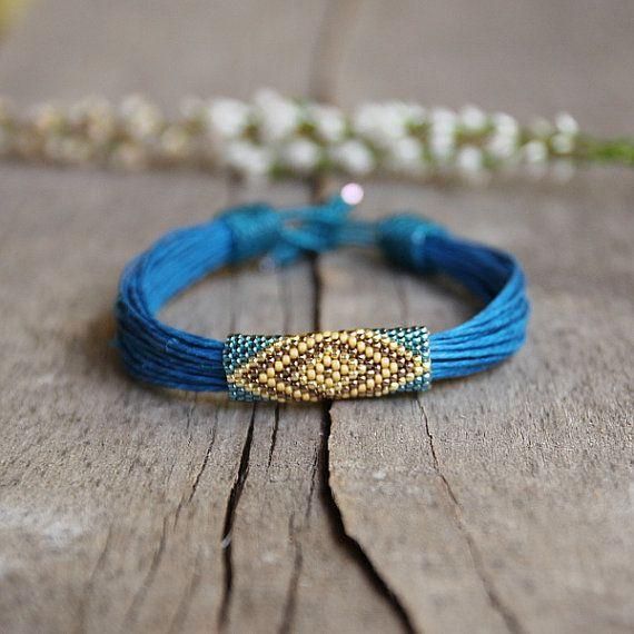 Tribal brazalete pulsera de cáñamo pulsera Boho por Naryajewelry