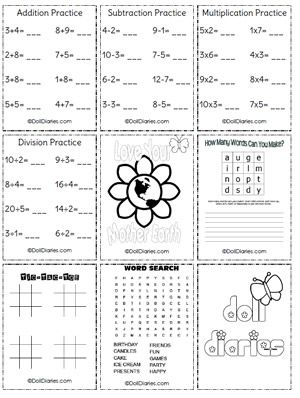Free doll-sized school work sheets and coloring pages
