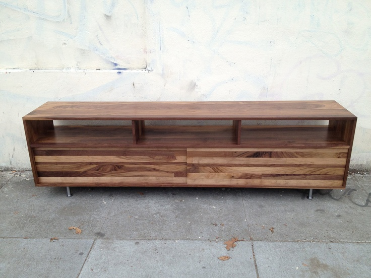 Long Low Mixed-Walnut Media Console (48 To 60 Inch