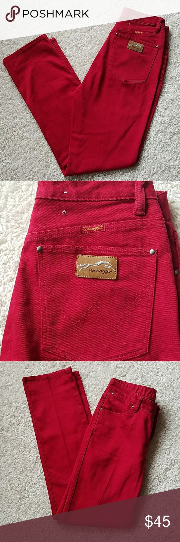Wrangler~NWOT~WRANGLER JEANS Wrangler~WRANGLER JEANS~RED~NWOT SIZE TAGGED: 3/4X32 MEASURED: W27 3/4 RISE10 HIPS36 L32 Wrangler Jeans Straight Leg
