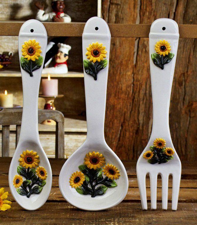 Sunflower Kitchen Decor Decorations Ceramic Large 17 Spoon Fork