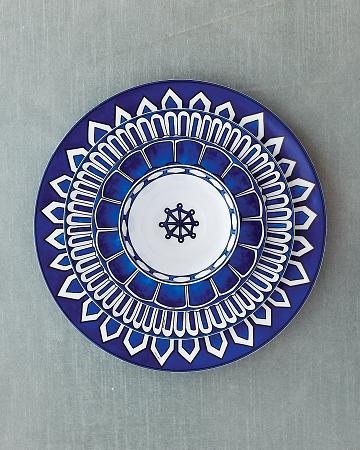 Petal-edged La Table Hermes plates. The anchor center & the blue & white are so attractive.