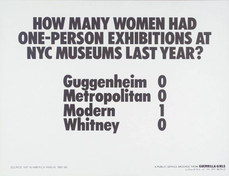 Guerrilla Girls, 'How Many Women Artists Had One-Person Exhibitions In NYC Art Museums Last Year?' 1985