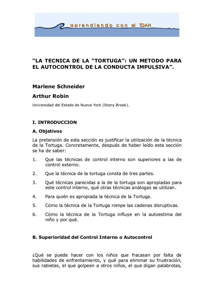"""LA TECNICA DE LA ""TORTUGA"": UN METODO PARA EL AUTOCONTROL DE LA CONDUCTA IMPULSIVA""."