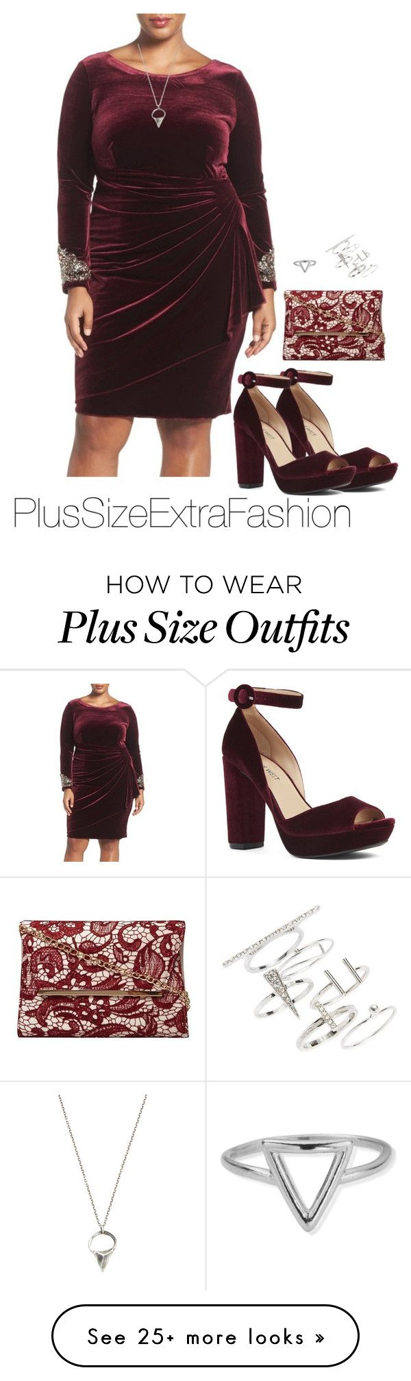 """""""Edgy Burgundy Plus Size Formal Holiday Outfit"""" by plussizeextrafashion on Polyvore featuring Alex Evenings, Nine West, Dorothy Perkins, Lauren Wolf, ChloBo, Topshop and plus size dresses"""