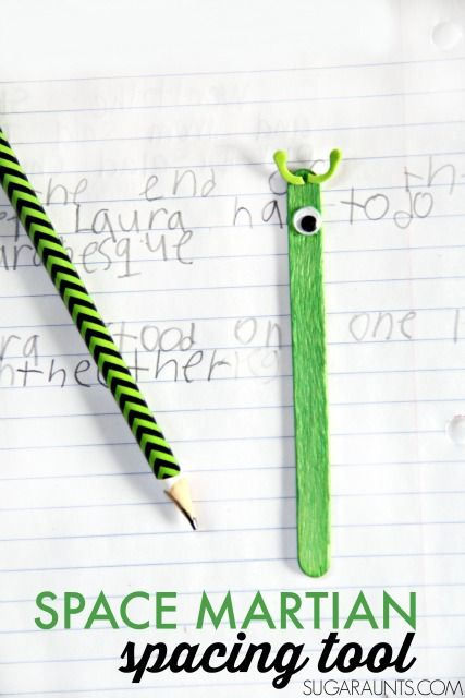 Clever DIY spacing tool to slide into kids' writing folders. Work on visual tracking, visual perceptual skills, and visual attention in handwriting.
