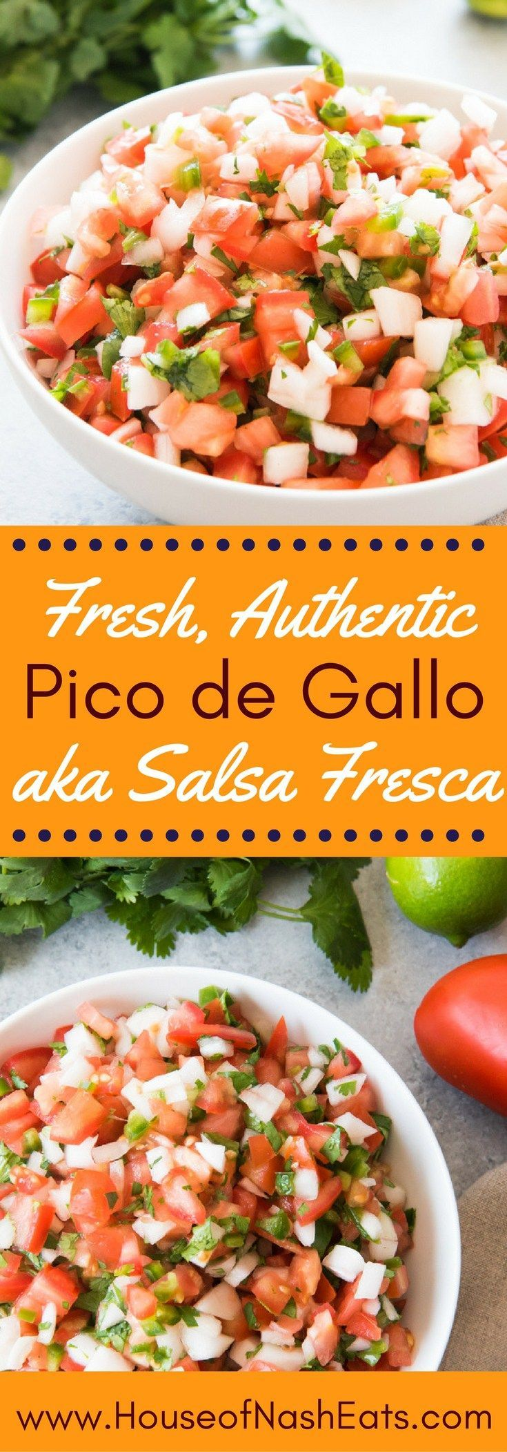 Authentic, fresh, Mexican Pico de Gallo, aka Salsa Fresca, is super easy to make and can be used in so many ways, from topping chicken or fish, adding to tacos, salads, and more, or just serving as a salsa with chips!  We even eat it at breakfast!  Even b