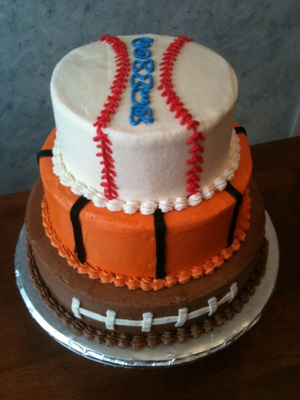 3 tier sports cake... Def going to have this made this year for Brysons 3rd bday!.. This is awesome.