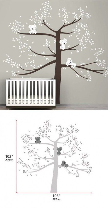 Spring 3 Koala big Tree Extra Large removable Wall stickers home decor mural vinyl Decal for kids room nursery $57.99