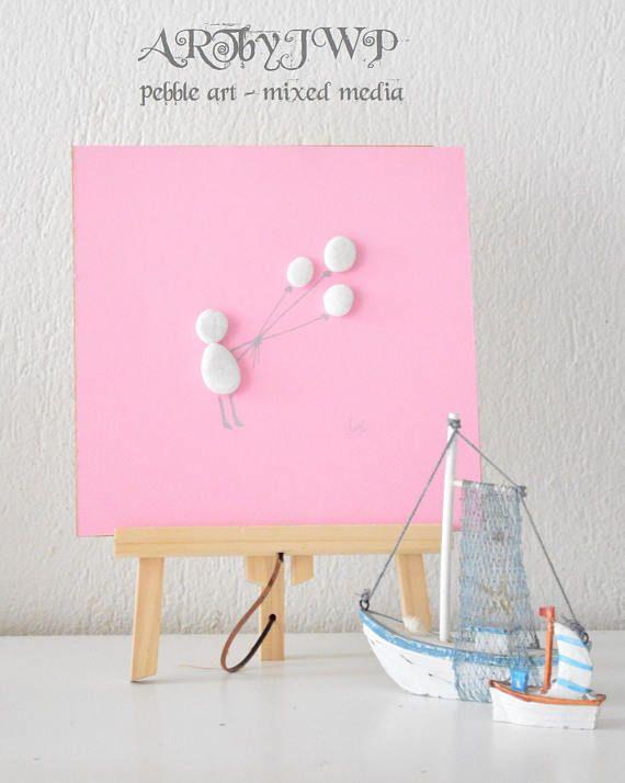Arte senza cornice unica Pebble  ragazza con palloncini