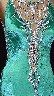Ballroom Standard Cocktail Waltz Tango US8 Dance Dress B3241GREEN Velvet | eBay