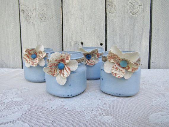 Shabby Chic vasetti, supporti Votive di vetro sfera, spiaggia blu barattolo di vetro portacandele di vetro, vasi di Cottage Chic Wedding, matrimonio rustico Prairie