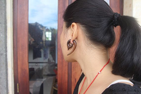 "Tribal Earring Fake Gauge Wood, Faux Gauge Sono ""Cantel"" Fake Taper Earrings, Bali Earring, Tribal Handmade Wooden Earring"