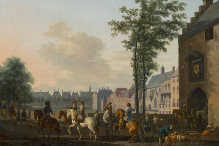 Partida de caza cerca del estanque mayor de La Haya. Gerrit Adriaensz Berckheyde (1638-1698), A Hunting Party near the Hofvijver in The Hague, Seen from the Plaats, c.1690.  MAURITSHUIS MUSEUM