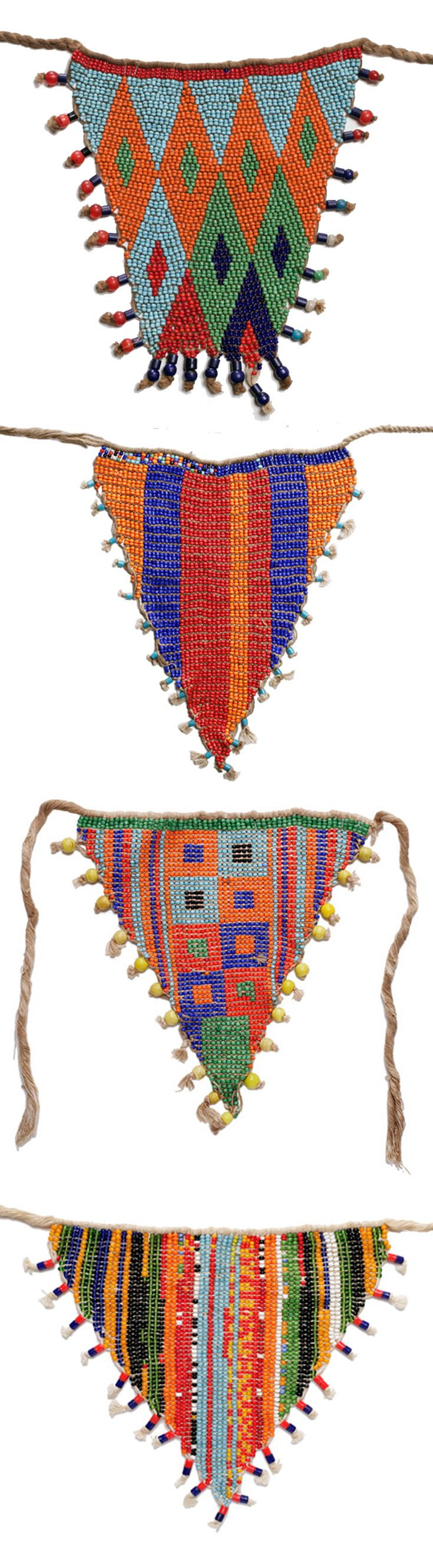 Africa | Girl aprons (cache-sexe) from the Kirdi people of Northern Cameroon | Glass beads, cowrie shells and fiber | 20th century