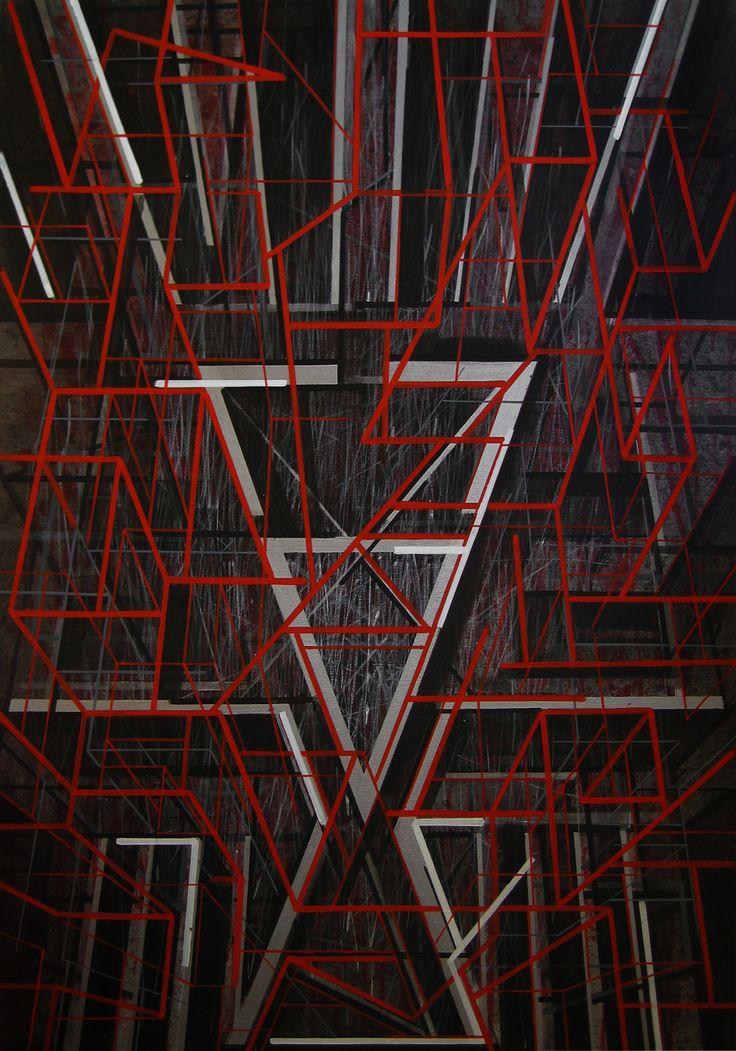 JANYST Kuba _ Left Hand And Path, olej i akryl na płótnie, 100x70 cm, 2014 r.